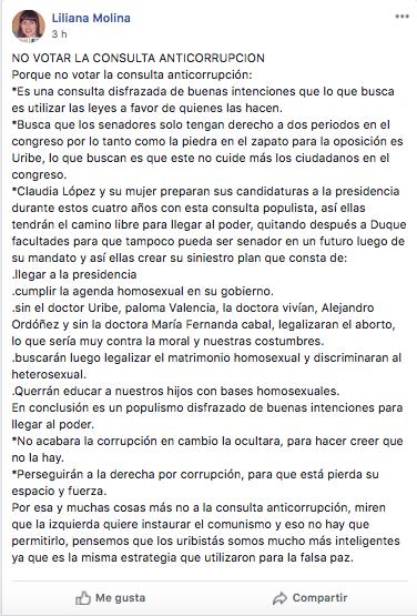 Cadena en Facebook con mentiras sobre la consulta anticorrupción