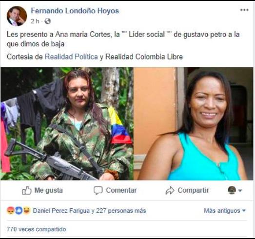 Publicación falsa en Facebook en perfil falso de Fernando Londoño