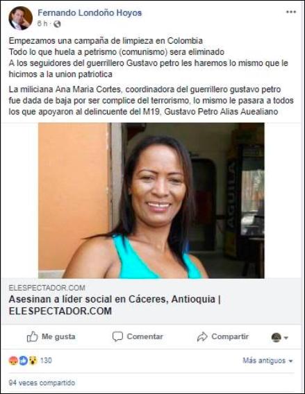 Falsa página de Fernando Londoño en Facebook