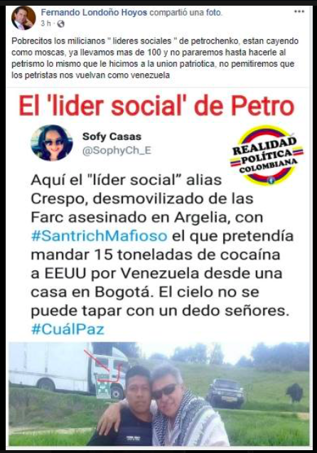 Falso perfil de Fernando Londoño Hoyos en Facebook
