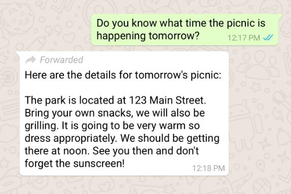 Ejemplo de mensaje reenviado por WhatsApp