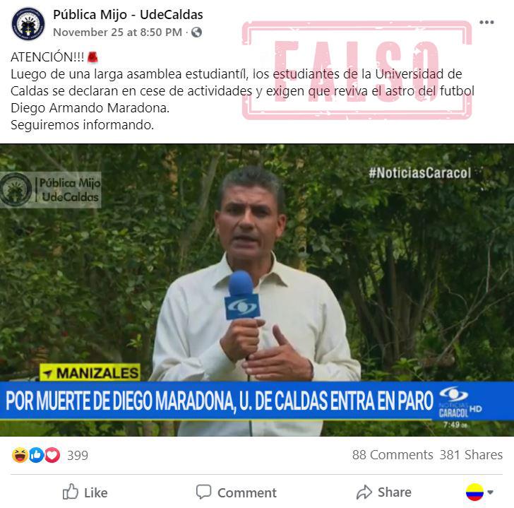 Publicación falsa de Maradona y U. de Caldas