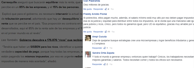 Comentarios en Facebook a noticia de Caracol