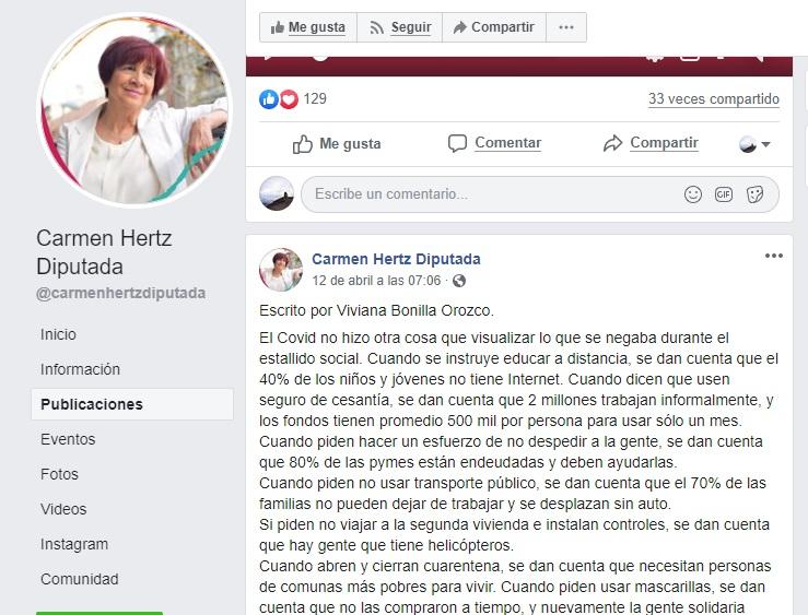 Publicación Facebook Carmen Hertz