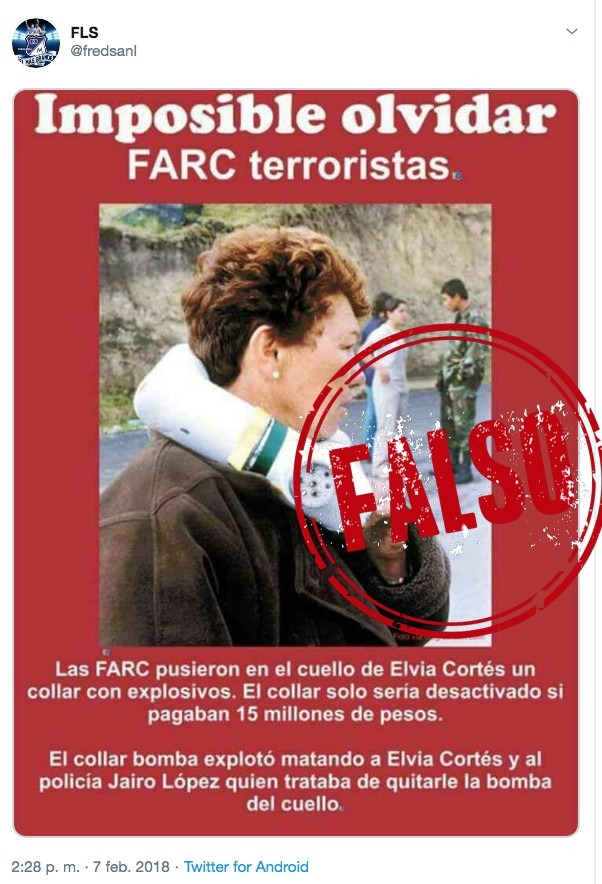 Foto del collar bomba que le atribuyen a las Farc pero el crimen lo cometió la delincuencia común