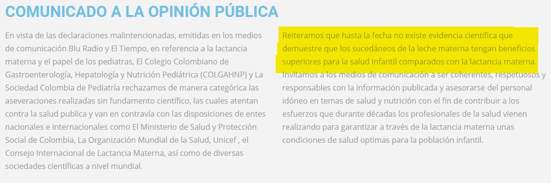 Comunicado Colegio médico de Gastroenterología, hepatología, pediática