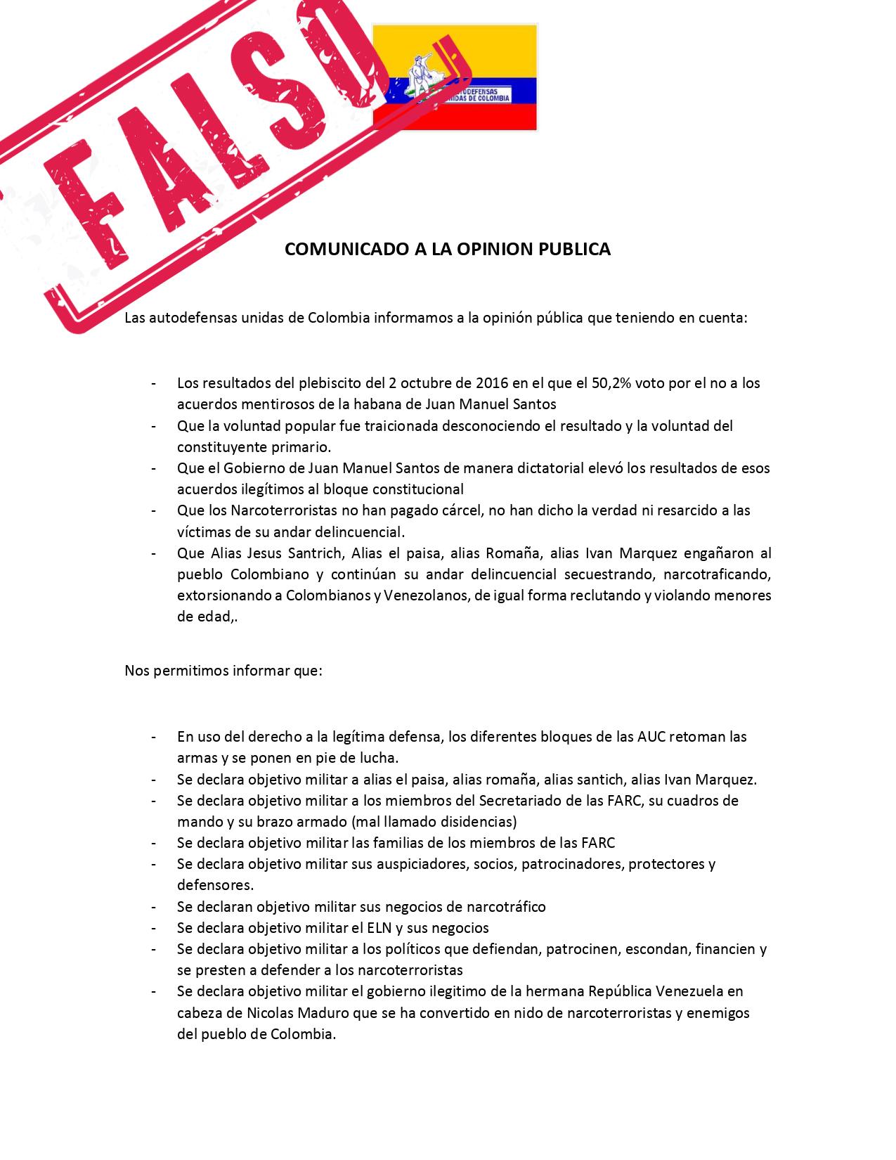 Comunicado falso 1