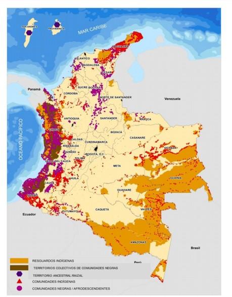 Mapa territorios indígenas y comunidades