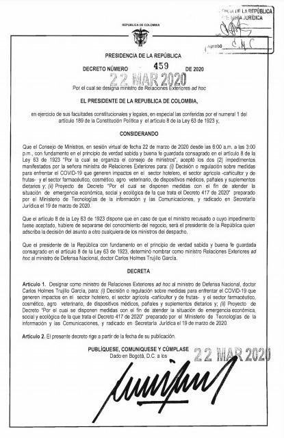Decreto nombramiento Carlos Holmes Trujillo