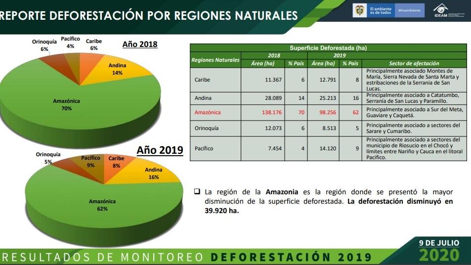 Deforestación por regiones 2019