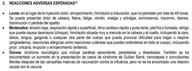 Efectos vacuna influenza
