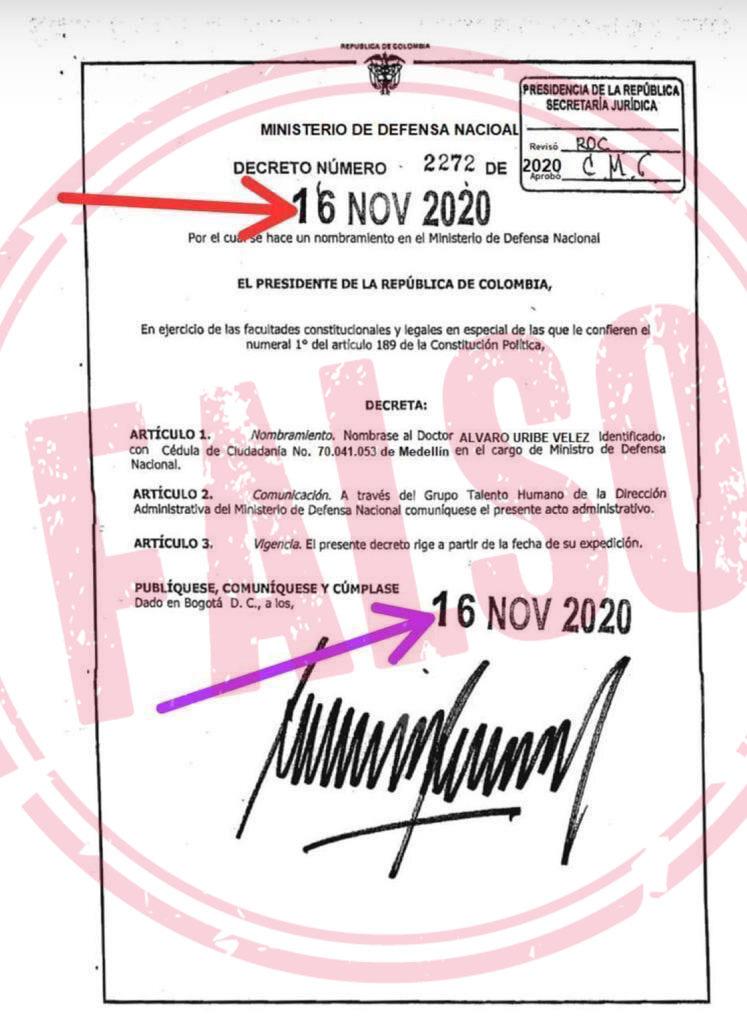 Decreto falso Uribe ministro de Defensa