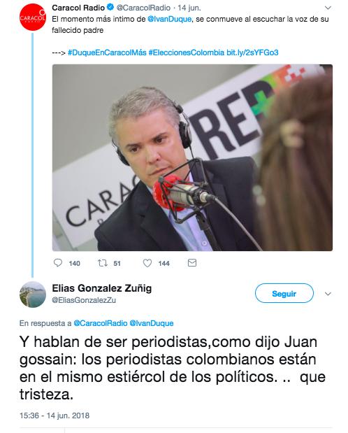 Tuit le atribuye frase mal citada a Juan Gossaín