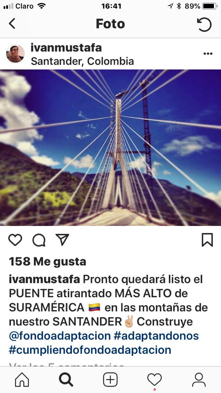 Publicación de Mustafá en Instagram sobre el puente Hisgaura