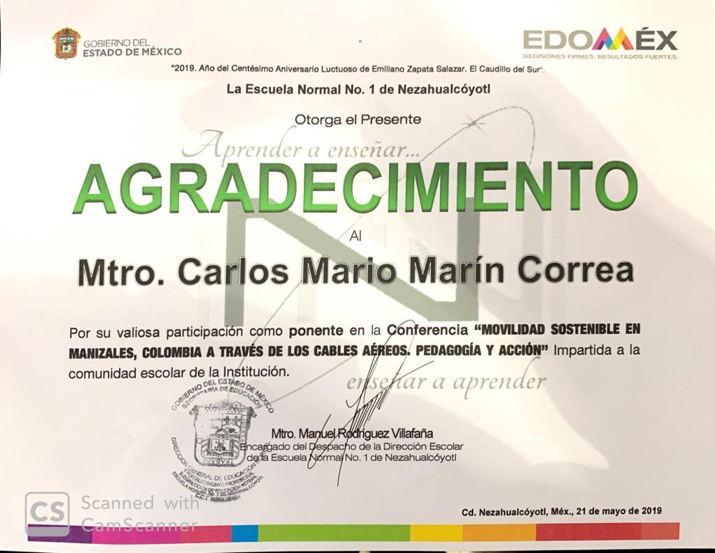 Certificado Carlos Mario Marín