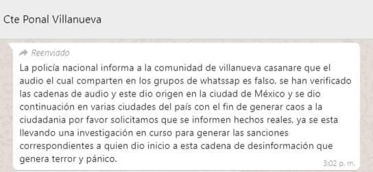 Captura de pantalla de texto en WhatsApp