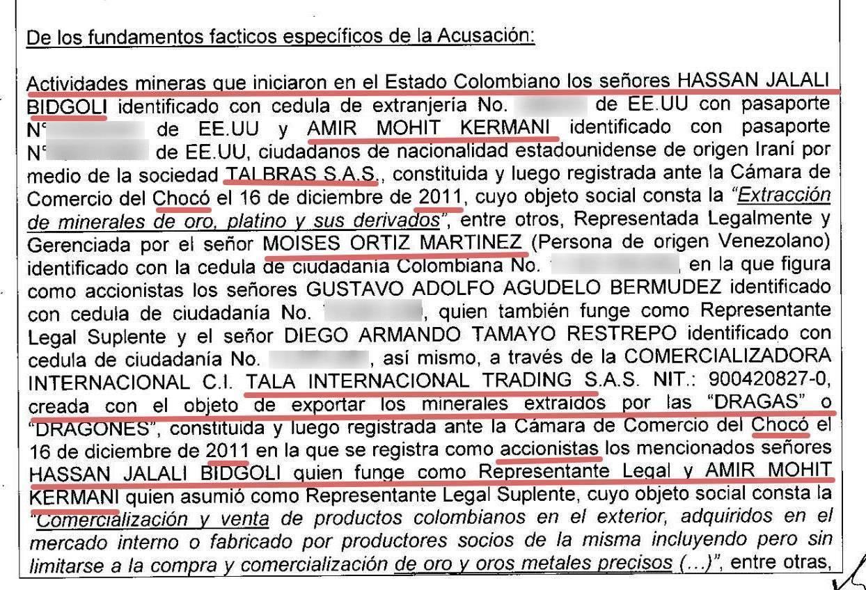 Captura de pantalla del documento de acusación de la Fiscalía.