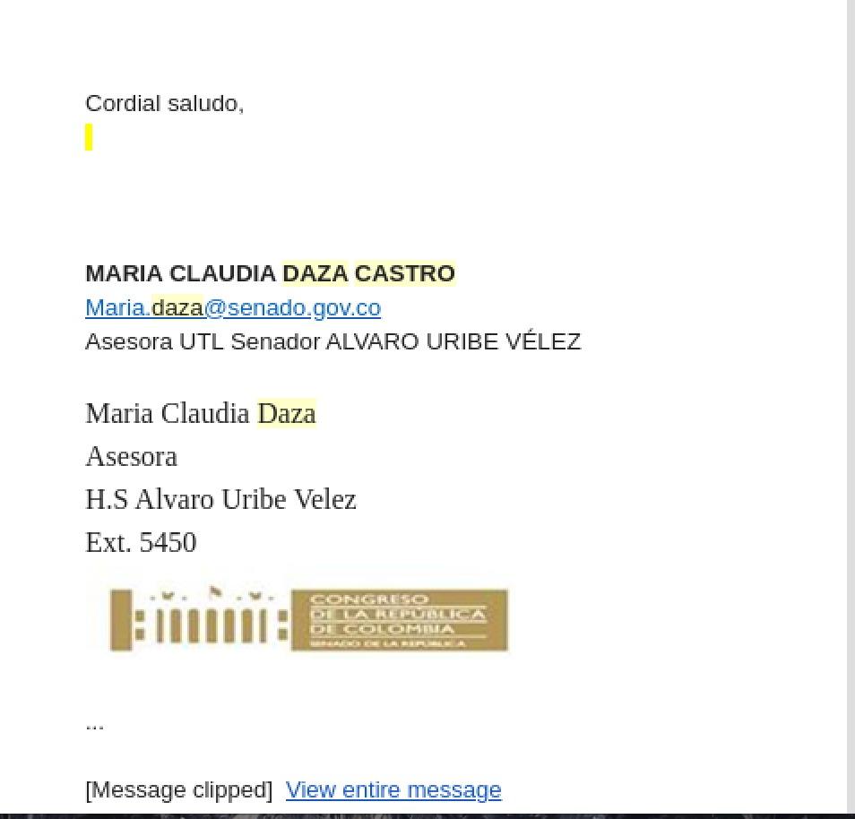 Pantallazo correo María Claudia Daza