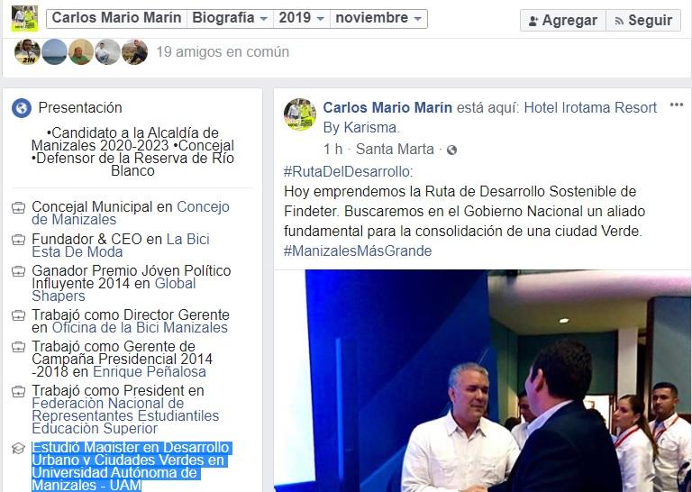 Pantallazo Facebook Carlos Mario Marín