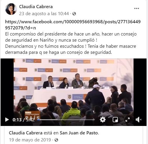 Pantallazo Facebook exalcaldesa Policarpa