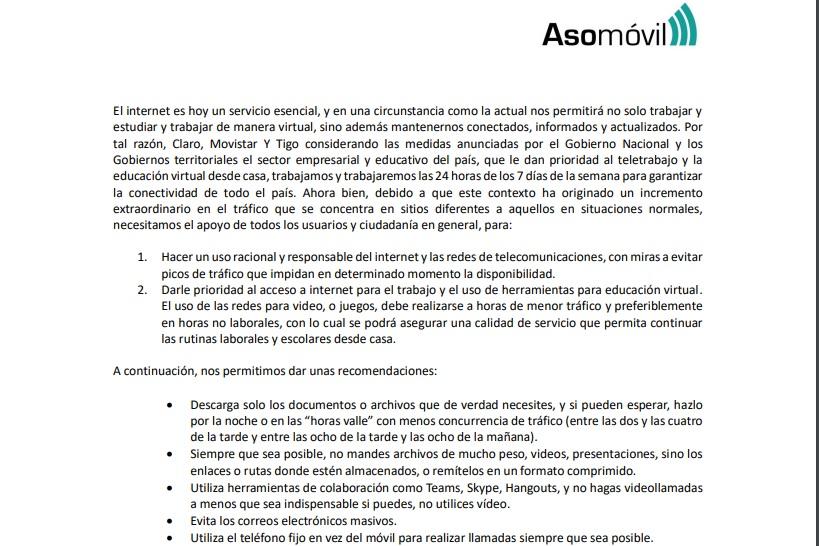 Pantallazo comunicado Asomovil