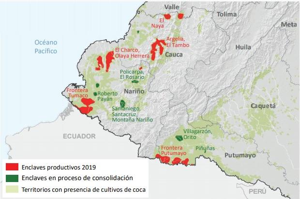 Pantallazo enclaves coca4 UNODC 2019