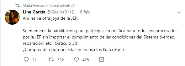Retweet María Fernanda Cabal