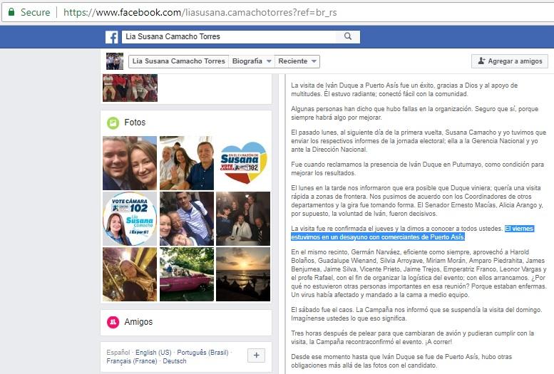 Perfil de Susana Camacho en Facebook
