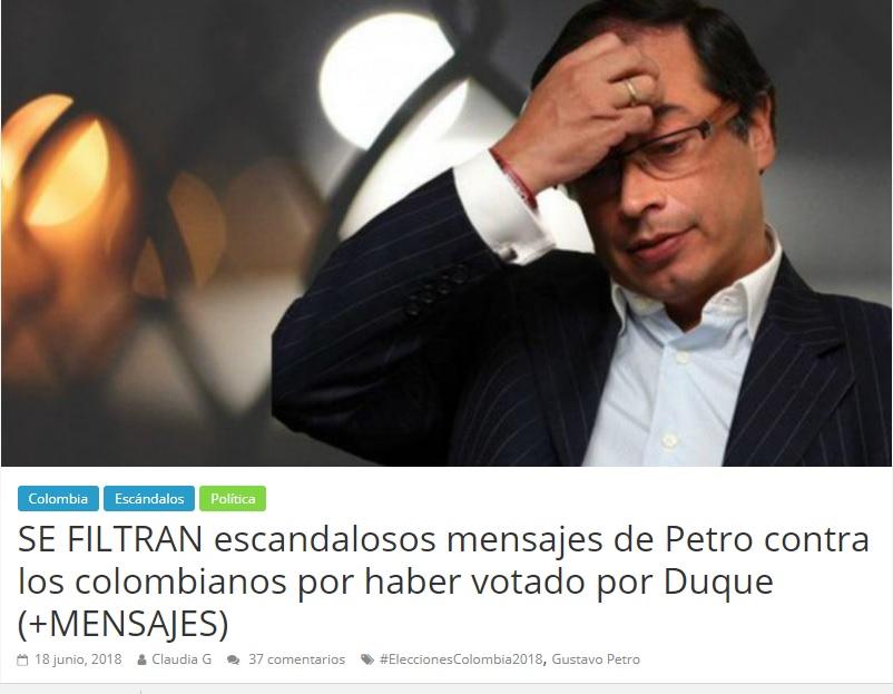 Noticia falsa de Vanguardia 24 sobre trinos de Petro tras elecciones