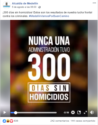 Captura de pantalla de la publicación de la Alcaldía de Medellín