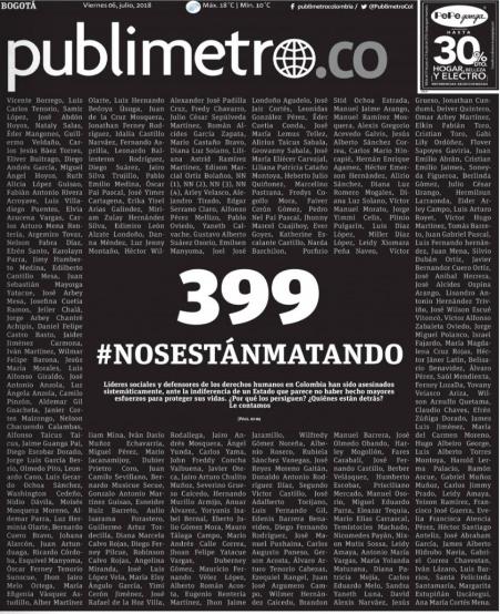 Primera plana de Publimetro sobre asesinatos de líderes sociales