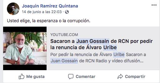 Noticia falsa sobre renuncia de Gossaín a RCN por denuncia contra Uribe