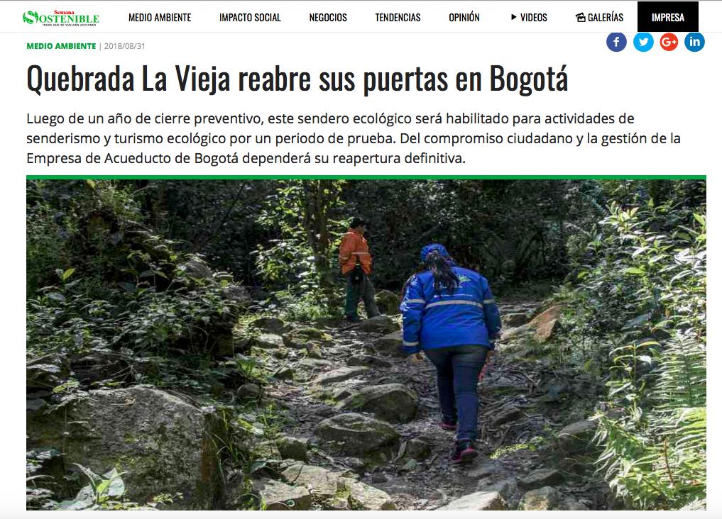 Falsa noticia de reapertura del sendero de La Vieja en Semana Sostenible