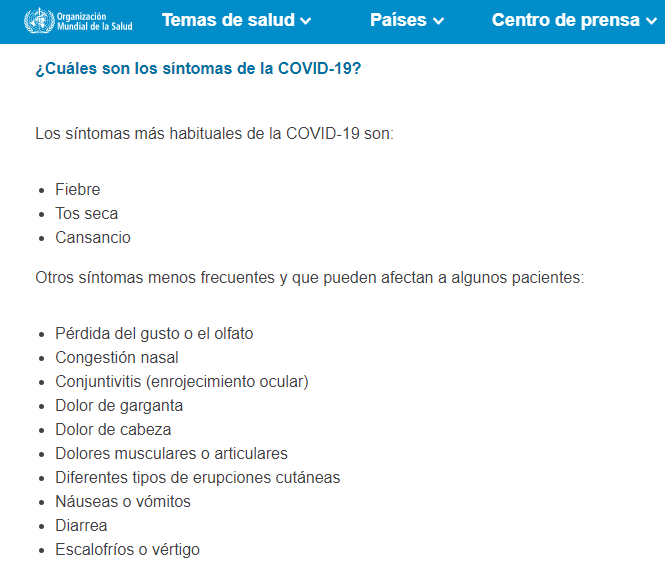 sintomas COVID19 OMS