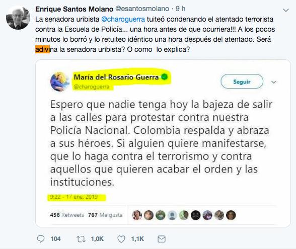 El periodista Enrique Santos Molano también cayó en esta desinformación