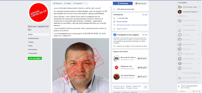 Captura desinformación en Facebook