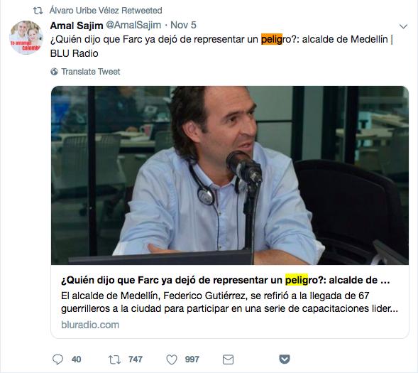 Tuit con titular viejo sobre la FARC