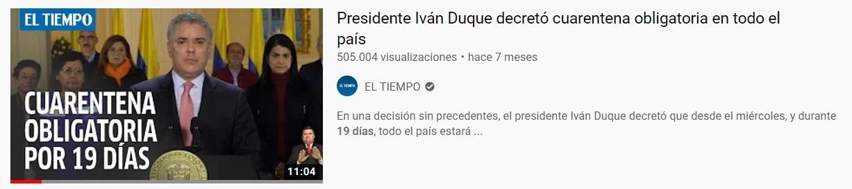 Pantallazo video El Tiempo cuarentena marzo