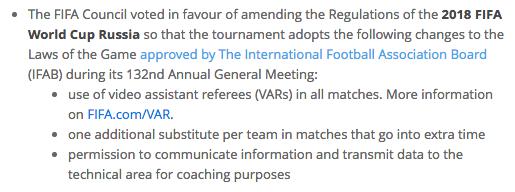 Comunicado sobre reglas de la FIFA para Rusia 2018