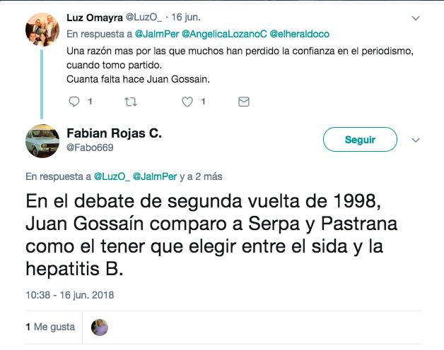Tuit donde se dice que Gossaín comparó a Serpa y Pastrana con enfermedades