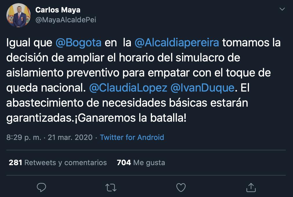 Trino 2 del alcalde de Pereira
