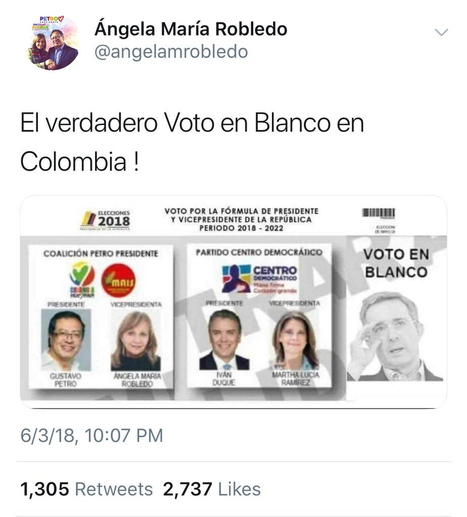 Tuit de Ángela Robledo con meme de Uribe en casilla del voto en blanco
