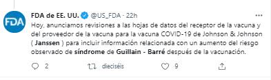 Tweet de la FDA