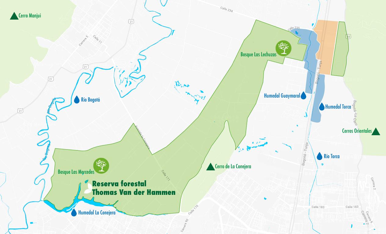 Mapa reserva Van der Hammen