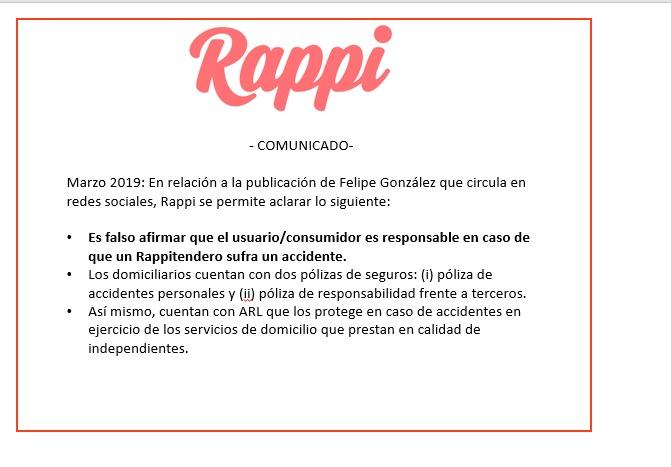 Respuesta Rappi