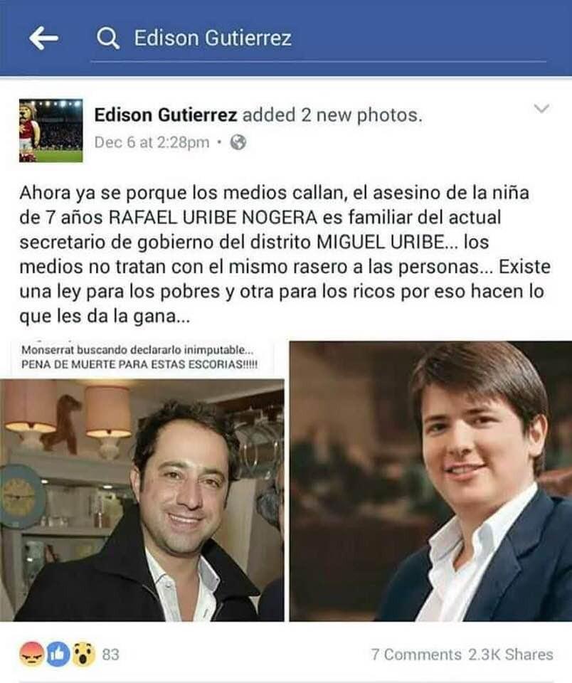 Captura de pantalla que circula en redes sobre Uribe Turbay y Uribe Noguera