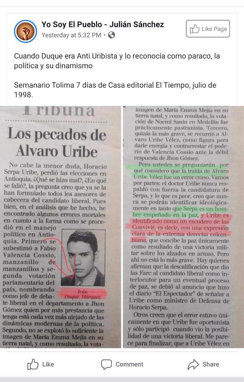 Captura de pantalla de una publicación en Facebook con la columna