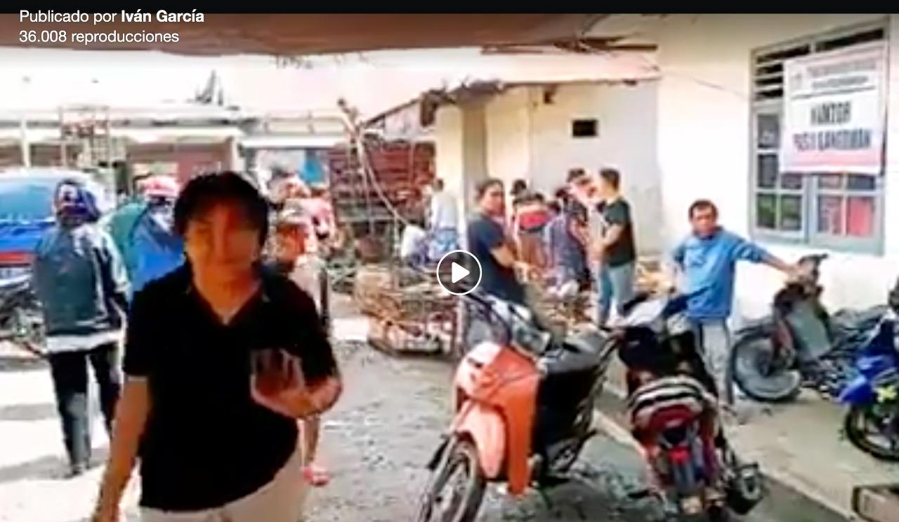 pantallazo del video de mercado en Filipinas difundido como si fuera el lugar del origen del coronavirus en China