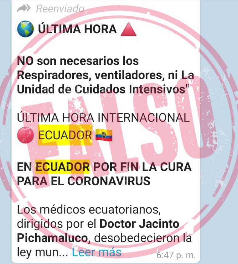 Captura de pantalla cadena chequeada de Ecuador