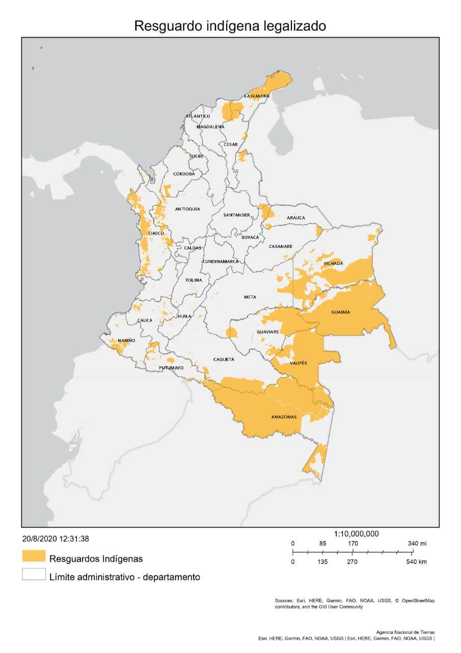 Mapa de resguardos ANT